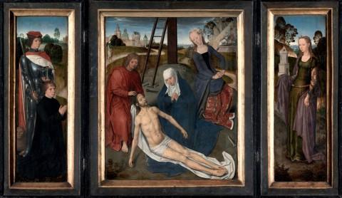 Hans Memling, Trittico di Adriaan Reins, 1480, olio su tavola, 43,8 x 35,8 cm (pannello centrale senza cornice); 44,5 x 13,5 cm (scomparti senza cornice), Bruges, Stedelijke Musea Brugge, Hospitaalmuseum