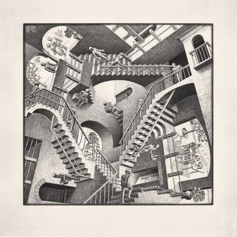 Maurits Cornelis Escher – Casa di scale (Relatività), 1951.Collezione Federico Giudiceandrea © 2014 The M.C. Escher Company. All rights reserved