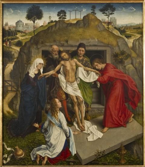 Rogier van der Weyden (e aiuti), Compianto sul Cristo morto, 1460-1465, olio su tavola, 111 x 95 cm, Firenze, Galleria degli Uffizi