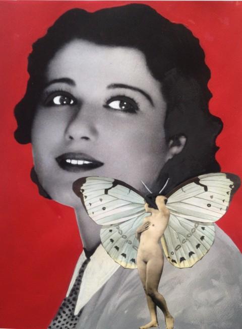 Rossella Fumasoni, CHIARA FAMA, Stampa offset, litografia originale, serigrafia e collage su carta Rosaspina Fabriano 280 gr, tiratura 198, 54 x 70 cm, Stamperia Carini, 2014 – 98 limited editio.