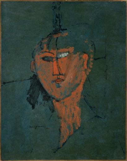 Amedeo Modigliani - Testa rossa (1915, olio su cartone cm 54x42. Centre Pompidou, Parigi)