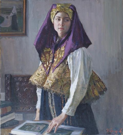 Ivan Glazunov, Costume di Niznij Novgorod, 2006, olio su tela, 100x90