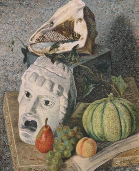 Gino Severini, Natura morta con conchiglia e maschera (1930)