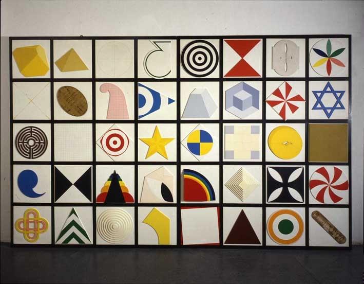 Lucio Del Pezzo, Casellario 40 elementi, 1974, acrilici e collage su legno, 224 x 350 cm