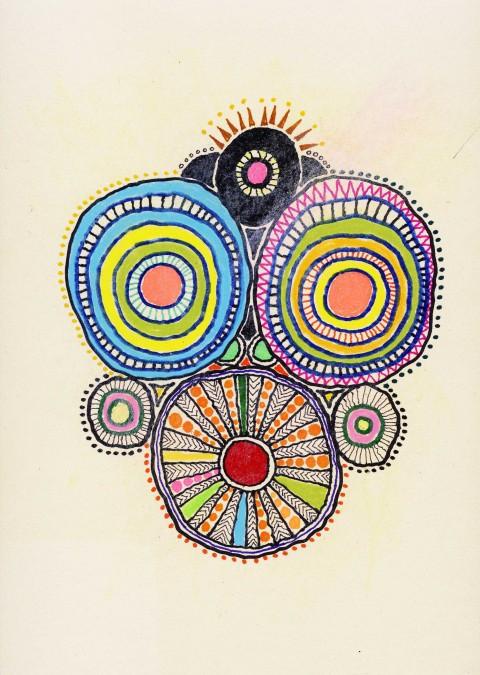 Mendini, Mostro 20,  2014,pastelli a cera, pennarelli, penne biro e matite colorate, cm 35x25