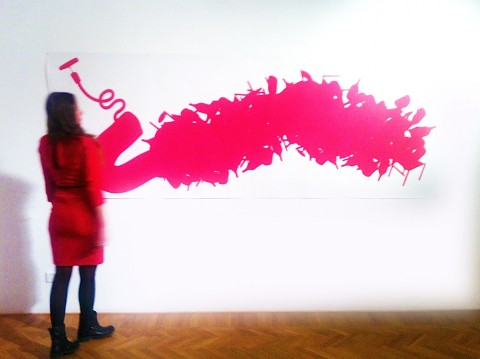 Aldo Del Bono - Il bicchiere dalle labbra rosse - veduta della mostra presso Interno 14, Roma 2014