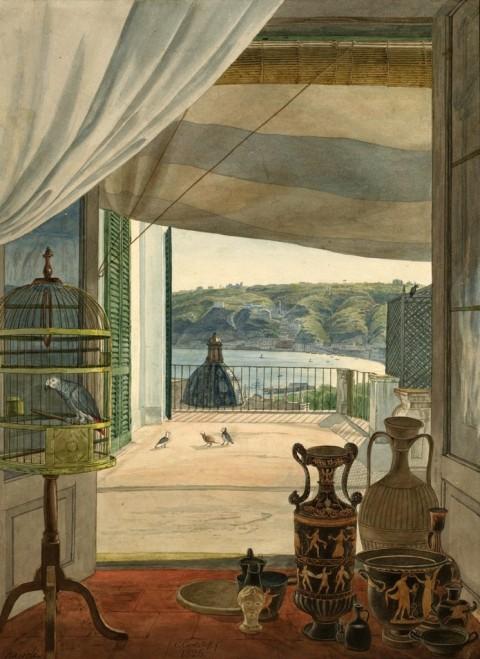 Carl Wilhelm Götzloff, A Balcony Room Overlooking the Gulf of Naples, acquerello su carta, 1826. National Gallery of Art, Washington