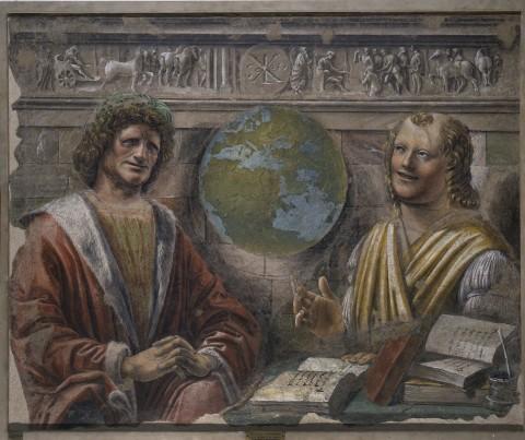 Donato Bramante, Eraclito e Democrito, 1486-87 - Milano, Pinacoteca di Brera