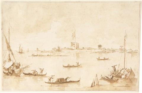 Francesco Guardi, Il Forte di San Nicolò visto dalla laguna, anni ottanta del XVIII secolo - National Gallery of Art, Washington, Donato da Samuel H. Kress