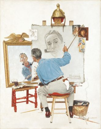Norman Rockwell, Triple Self Portrait, 1960 - Collection of The Norman Rockwell Museum at Stockbridge