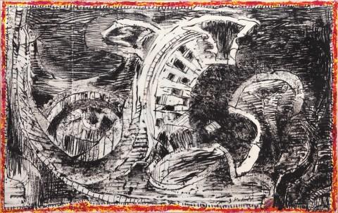Pierre Alechinsky, A contre vent - courtesy Galerie Lelong