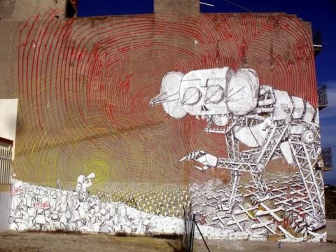 Un murale di Blu a Niscemi