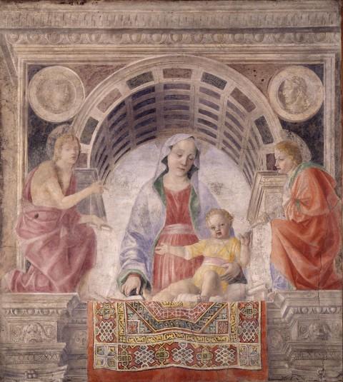 Vincenzo Foppa, Madonna con il Bambino tra i santi Giovanni Battista e Giovanni Evangelista (Madonna del tappeto), 1485 - Milano, Pinacoteca di Brera