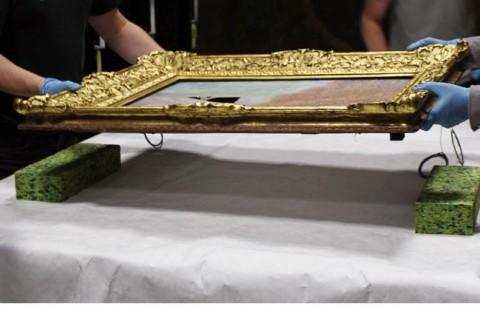 01 - Messa in sicurezza del dipinto danneggiato - restauro di un Monet alla National Gallery di Dublino