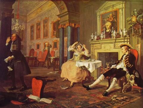 William Hogarth - Matrimonio alla moda - La mattina