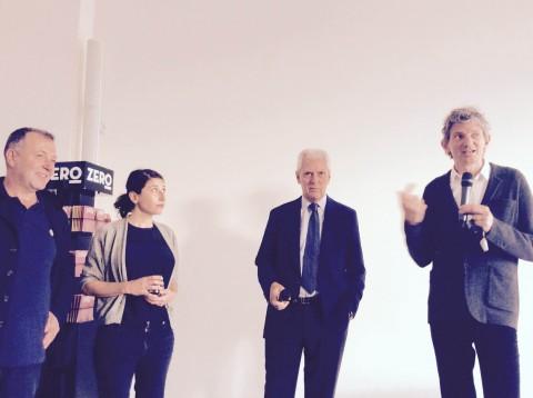 Andrea Lissoni presenta la mostra di Céline Condorelli presso HangarBicocca, Milano, 2014 - photo Daniele Perra