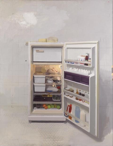 Antonio López García, Il frigorifero nuovo, 1991-1994 olio su tela, cm 240 x 190 collezione privata