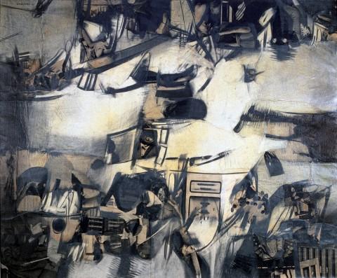 Bepi Romagnoni, Racconto, 1961, olio e collage su tela, cm 100x120, courtesy Montrasio Arte, Monza e Milano