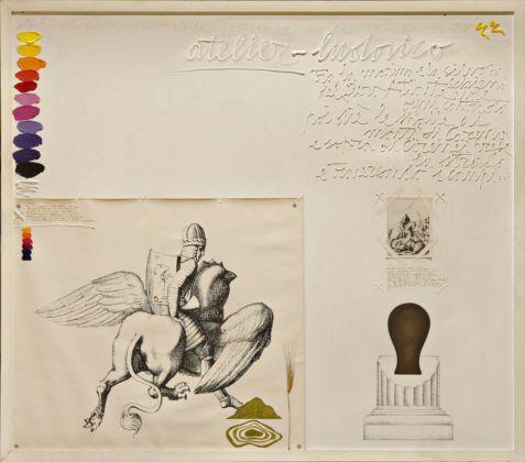Concetto Pozzati, Atelier Ariosto, 1974, acrilico, olio e collage su tela, 175 x 200