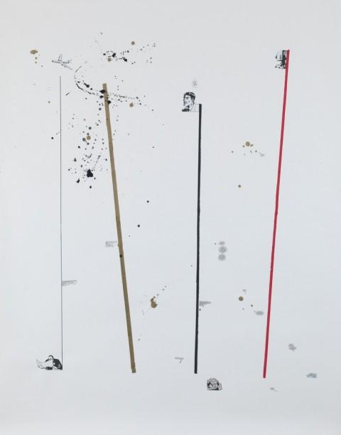 Federico Luger, Line concept, 2013, Acrilico, collage su carta, 190 x 150 cm