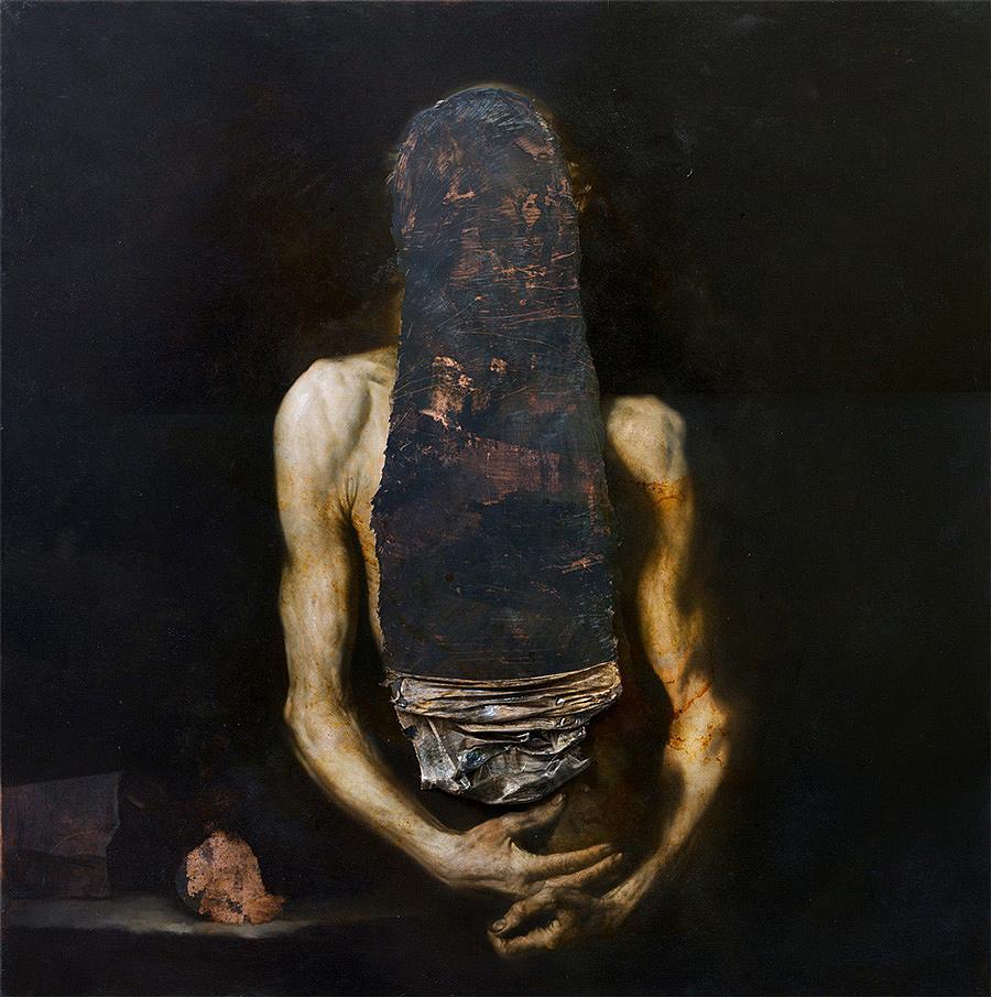 Nicola Samorì, Il digiuno, 2014 - olio su rame, 100 x 100 cm