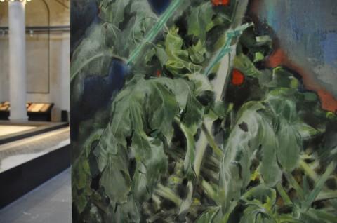 Pierpaolo Campanini - La pittura per me oggi è solo desiderio, 2014 - struttura modulare in alluminio, marmo, olio su tela - 190 x 160 x 210 cm