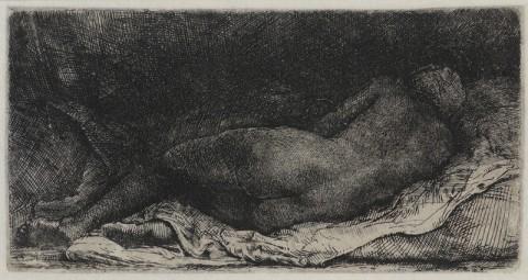 Rembrandt van Rijn, Nudo femminile disteso (La negra sdraiata), 1658, acquaforte, bulino e puntasecca su rame, 80 x 157 mm, Casa Morandi, Bologna