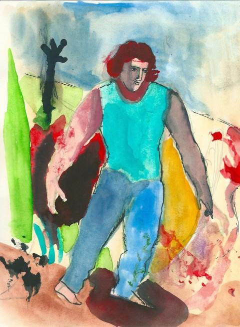 Sandro Chia, Orlando, proprio lui, 2014, Inchiostro e acquerello su carta, cm 28 x 21