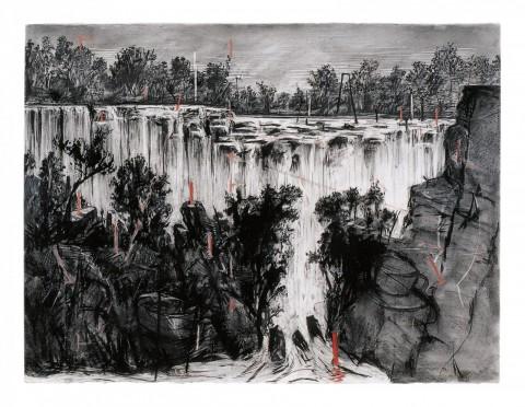 William Kentridge, Colonial Landscape (Falls Looking Upstream), obra inédita en Brasil, 1996, carbón y pastel sobre papel, 135,9 x 175,5 cm. Gordon Schachat Colletion. Cortesía: William Kentridge