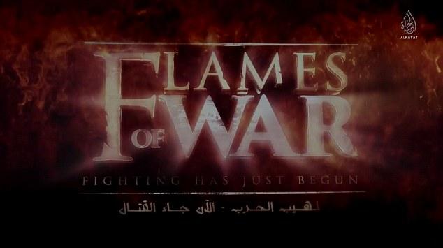I titoli di testa del documentario di un'ora girato dall'Isis dal titolo Flames of War, 2014