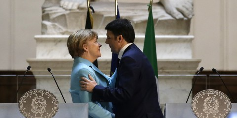 Matteo Renzi e Angela Merkel a Firenze