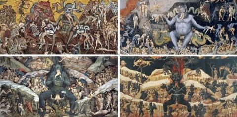 Da in alto a sinistra, in senso orario, Coppo di Marcovaldo, Giotto, Giovanni da Modena e Maestro dell'Avicenna