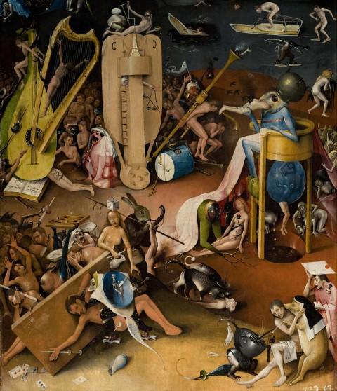 Hieronymus Bosch, Trittico del Giardino delle Delizie (pannello destro, dettaglio, 1480-90)