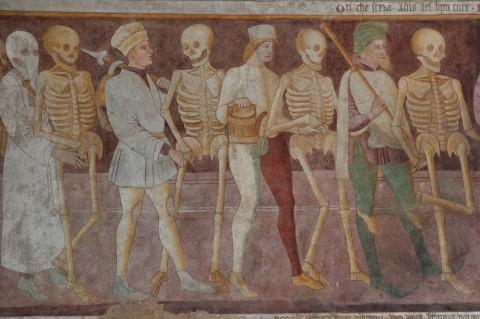 Giacomo Borlone de Buschis, Danza macabra (dettaglio, 1485), Oratorio dei Disciplini, Clusone