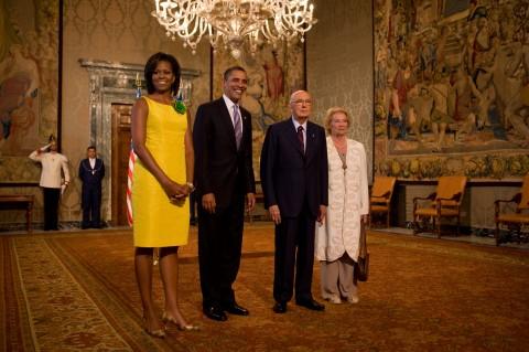 Barack Obama, la first lady Michelle Obama, Giorgio Napolitano e la moglie Clio, al Quirinale