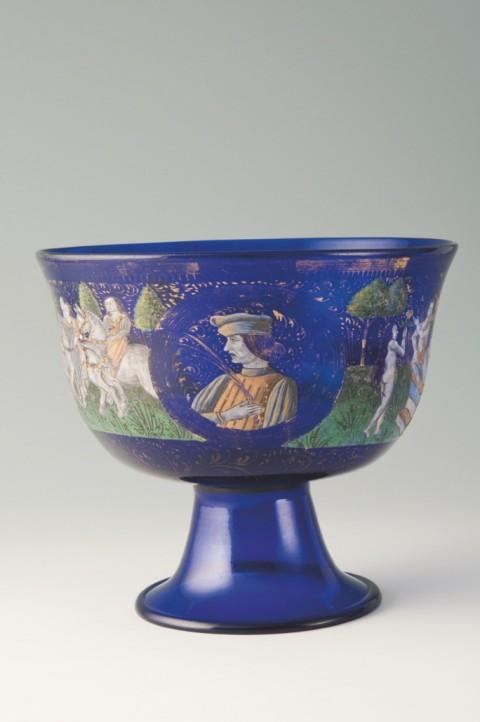 Coppa Barovier - vetro soffiato blu dipinto in smalti policromi e oro – Venezia - 1460-1470 ca. - Museo del Vetro, Murano