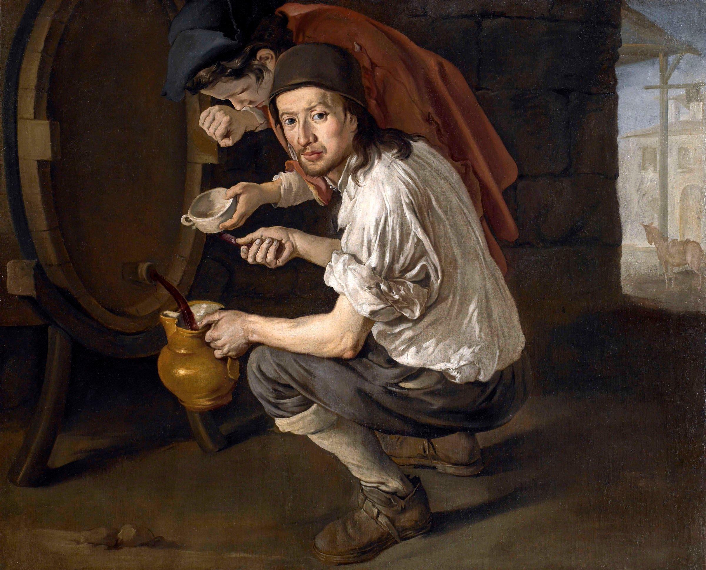 """""""Potavinus"""" Giacomo-Ceruti-detto-Pitocchetto-Gli-spillatori-di-vino-olio-su-tela-117-x-151-cm.-Collezione-privata-"""