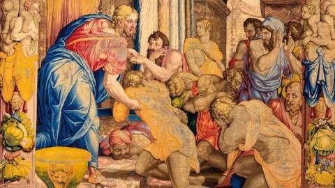 Giuseppe perdona i fratelli, uno dei venti arazzi recentemente restaurati, in mostra al Quirinale