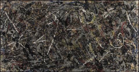 Jackson Pollock, Alchemy, 1947, olio, pittura d'alluminio (e smalto?) e spago su tela, 114,6 x 221,3 cm. Collezione Peggy Guggenheim, Venezia