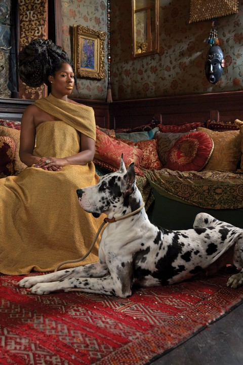Kehinde Wiley, Candice Stevens dressed and wrap by the Row - courtesy www.nymag.com