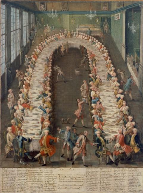 Pietro Longhi (bottega), Convito in casa Nani alla Giudecca, 1755 - Ca' Rezzonico, Fondazione Musei Civici di Venezia