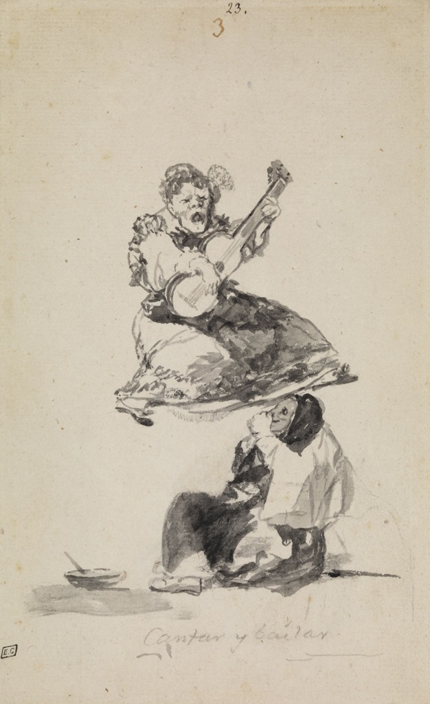 Francisco de Goya, Cantar y Bailar, Witches and Old Women Album, 1819-23 ca. – London, The Courtauld Gallery