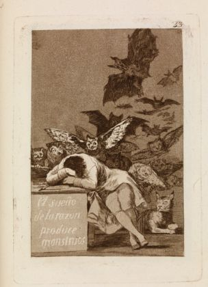 Francisco de Goya, El sueno de la razon produce monstruos, Los Caprichos 43, 1799 – Londra, The British Museum