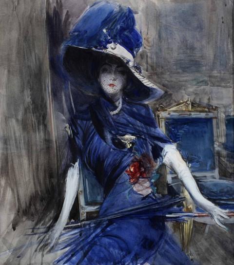 Giovanni Boldini, La divina in blu, 1905 ca., acquerello su carta. Collezione privata