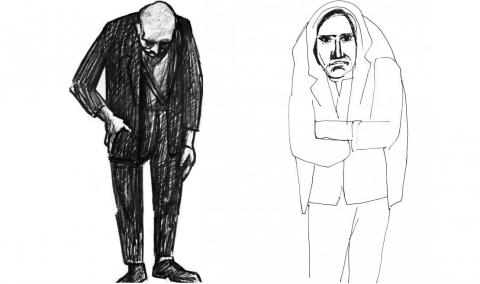 """Roberto Sambonet, I volti dell'alienazione, disegni,1952 - dagli apparati iconografici de """"La mente, la casa"""", progetto di Domenico Mangano per Moroso Concept 2015"""
