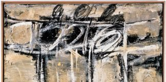 Cy Twombly, Untitled, 1951 Pittura murale su tela/ House paint on canvas 101.6 x 121.9 cm Cy Twombly Foundation