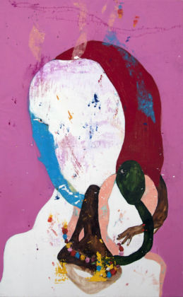 Caterina Silva, Ammu, 2014, acrylic, oil and water soluble oil on linen, 210 x 130cm, courtesy galleria Riccardo Crespi and the artist