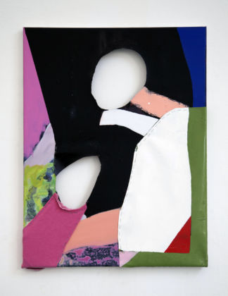 Caterina Silva, Soggetto, Oggetto, Abietto, 2015, acrylic, oil and linen on linen, staples, 80 x 60 cm, courtesy galleria Riccardo Crespi and the artist
