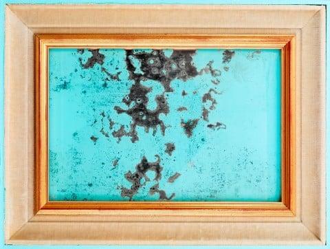 Davide D'Elia, Tiepido Cool, 2014 - Vernice antivegetativa su specchio d'epoca, passe-partout di stoffa, cornice antivegetativa