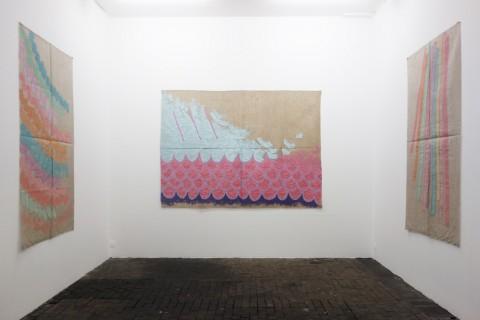 Giorgio Griffa, una retrospettiva 1968-2014 - veduta della mostra presso il CAC, Ginevra 2015